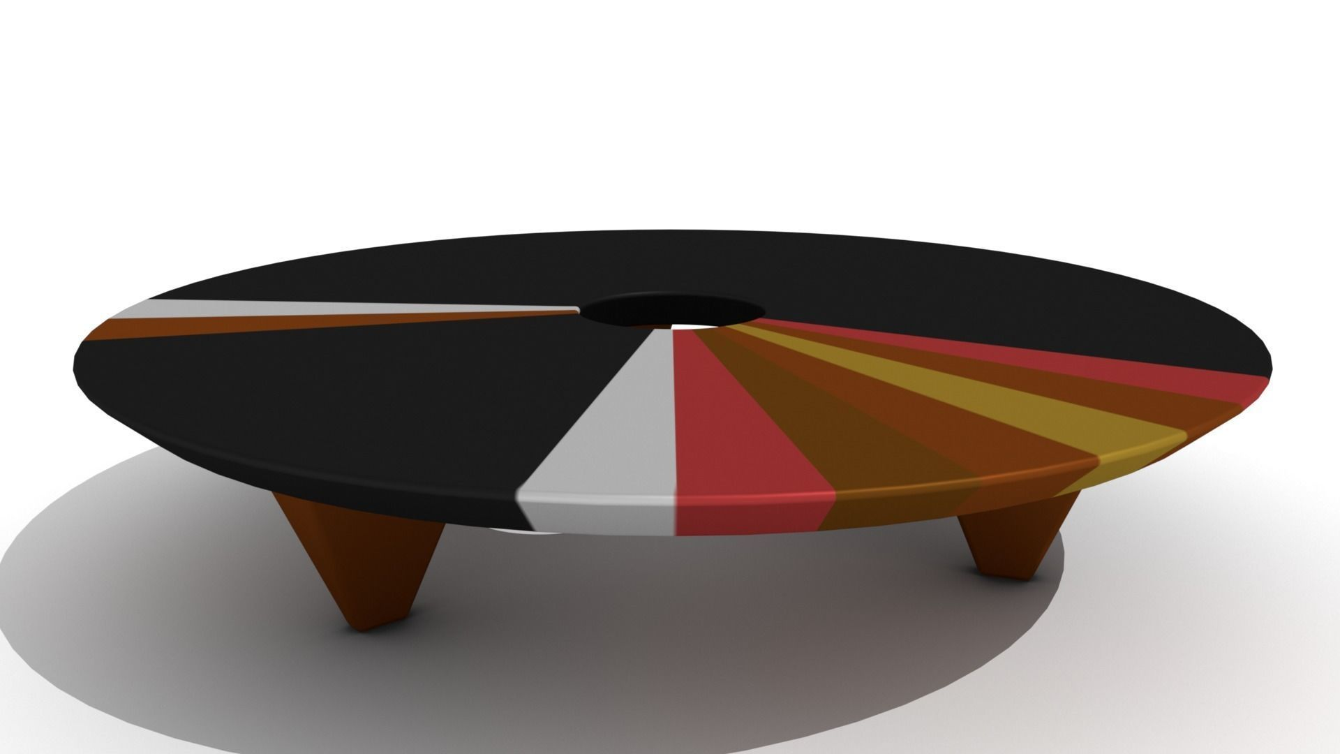 Retro Low Wooden Ring Coffee Table Model