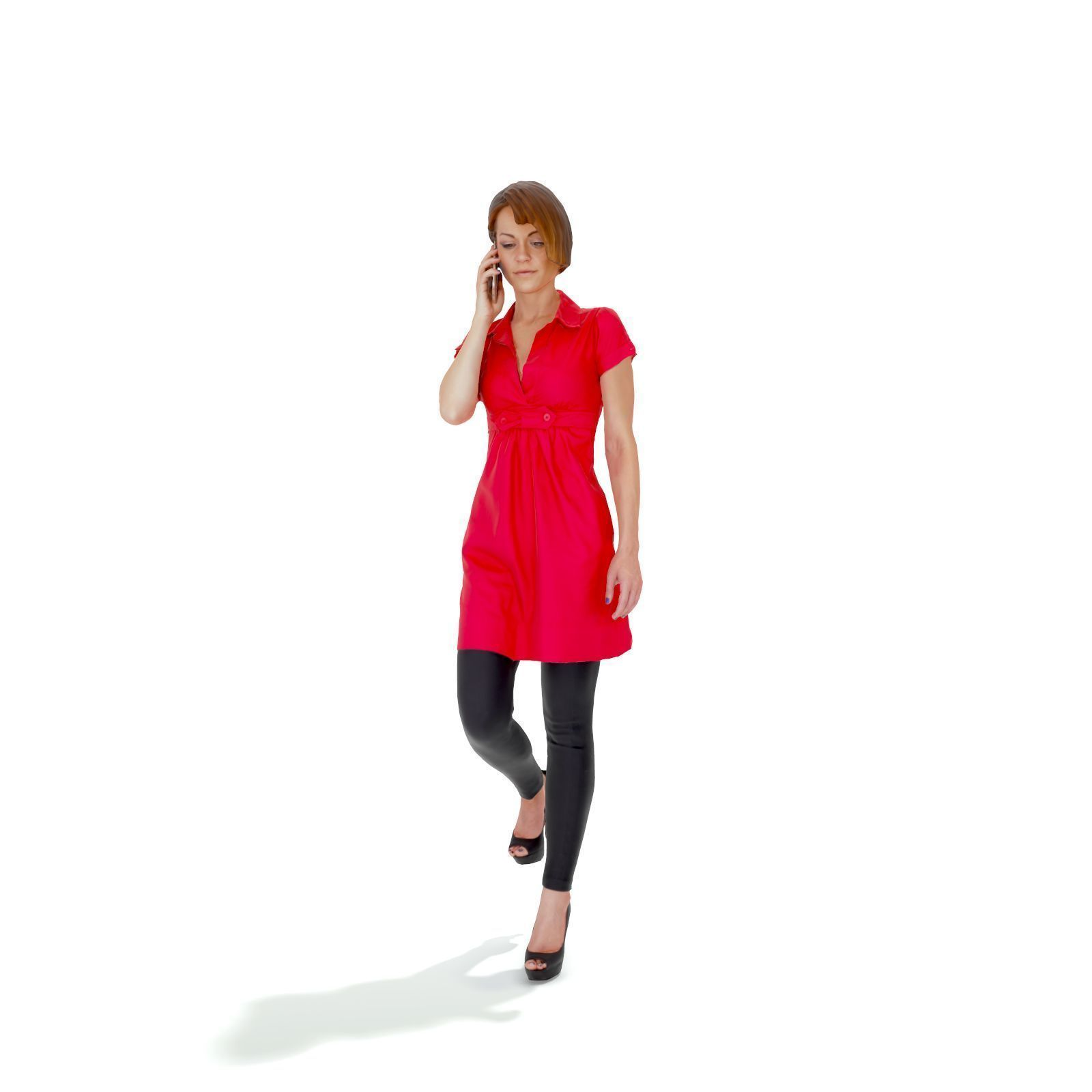 Woman with Red Dress Talking on Phone CWom0330-HD2-O01P01-S