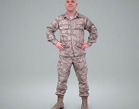 Smiling Standing Wearing Army Clothing 3D model