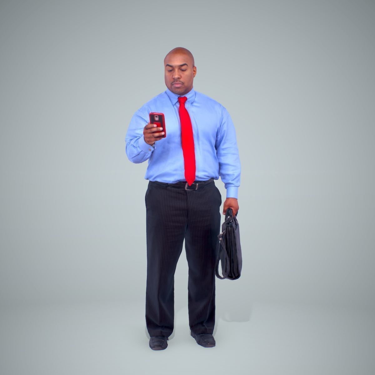 Business Man with Phone and Suitcase BMan0201-HD2-O01P01-S