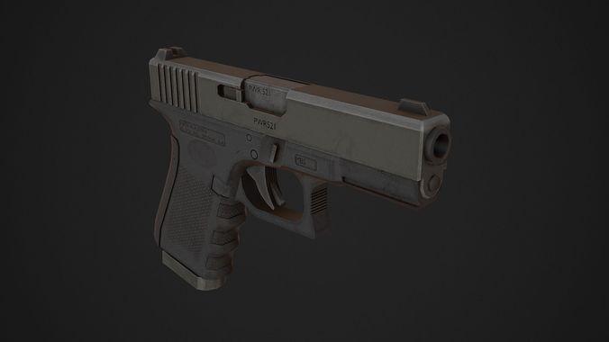glock 19 low poly 3d model obj mtl 3ds fbx blend 1