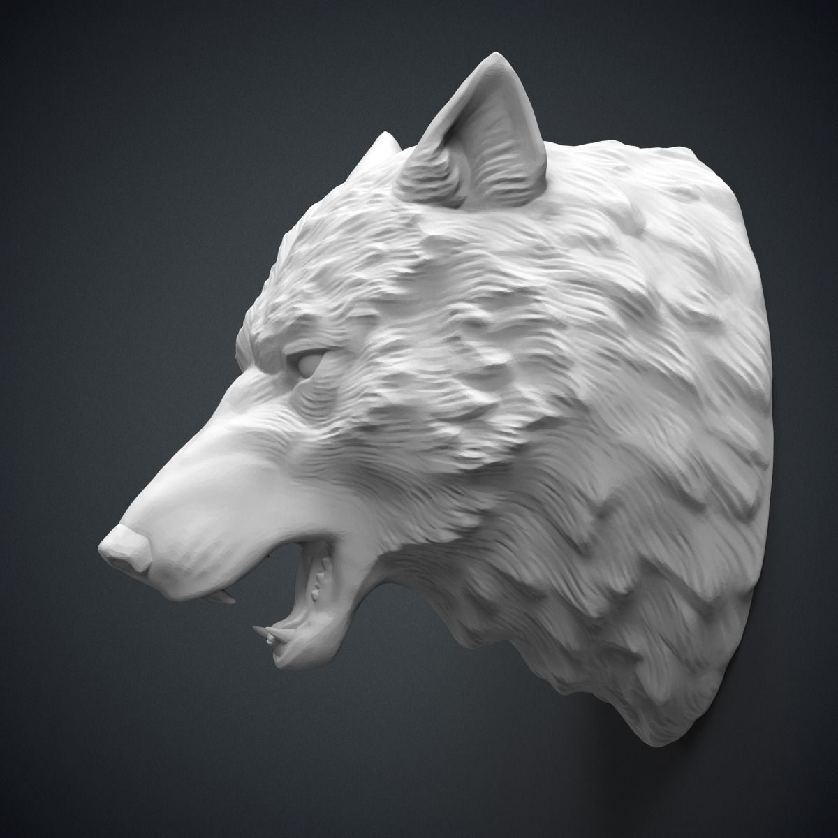 Wolf Head Sculpture 3D Model 3D Printable .obj .stl