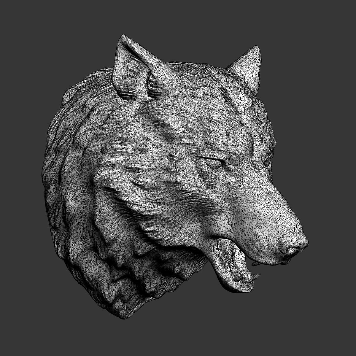 Wolf Head Sculpture 3D Model 3D Printable .obj .stl