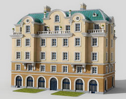 3D model game-ready Neoclassic hotel