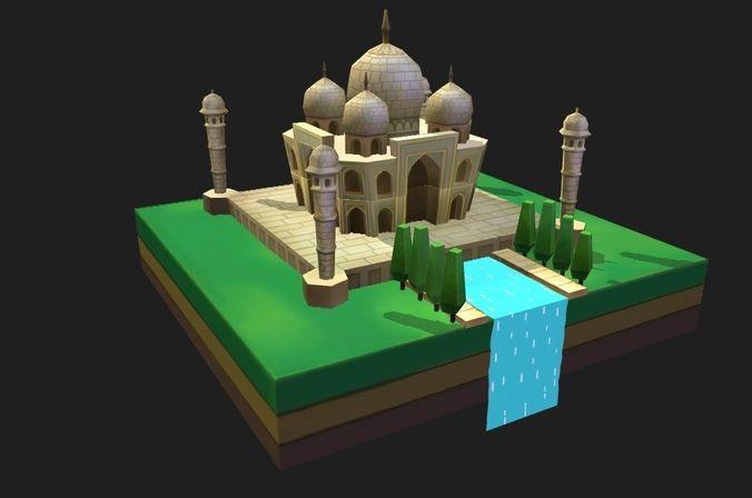 world architecture 3 taj mahal 3d model low-poly max obj mtl fbx ma mb stl dae 1