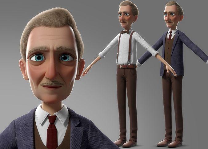 cartoon old man no rig 3d model obj fbx ma mb mtl mel 1