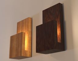 Modern Wood Wall Lamp 3D asset