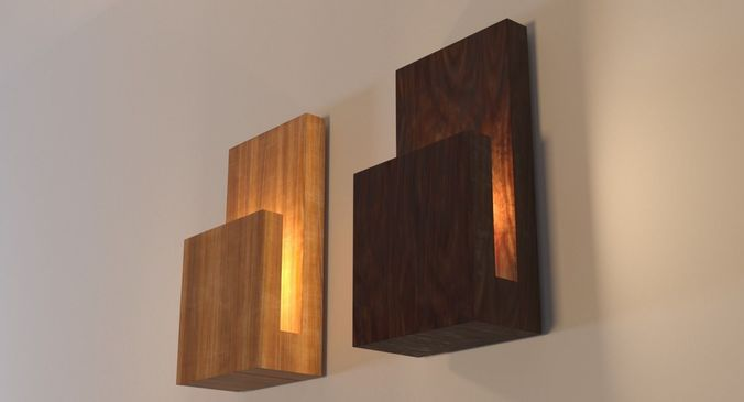 Modern Wood Wall Lamp 3d Model Low Poly Cgtrader