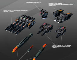 SF Spaceships Weapons C10 3D model game-ready