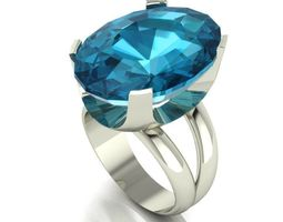 Ring with a large topaz 3D printable model