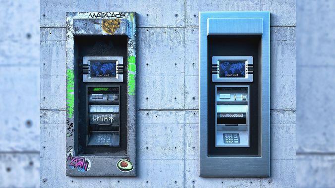 atm cash machine 3d model obj mtl fbx ma mb 1