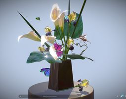 3D model Bouquet Calla Iris Polygon art