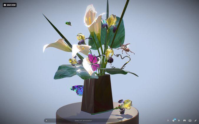 bouquet calla iris polygon art 3d model max obj mtl fbx ma mb tga 1