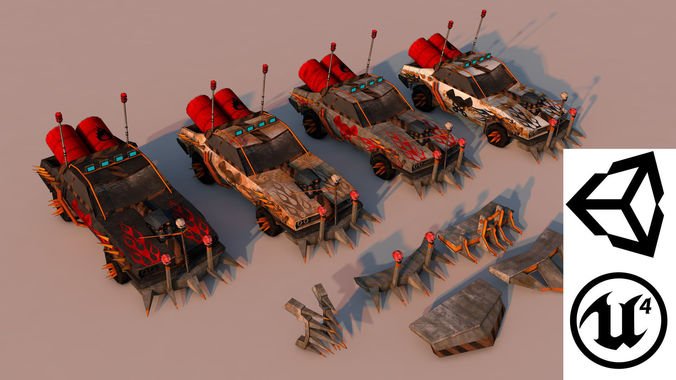 battle car 2 3d model low-poly obj mtl 3ds fbx c4d stl 1