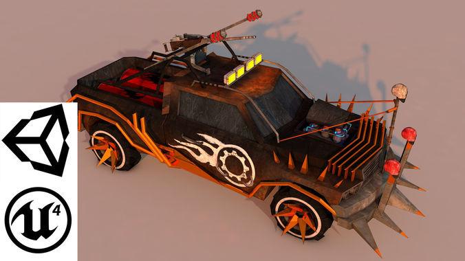 battle car 3 3d model low-poly obj mtl 3ds fbx c4d stl 1