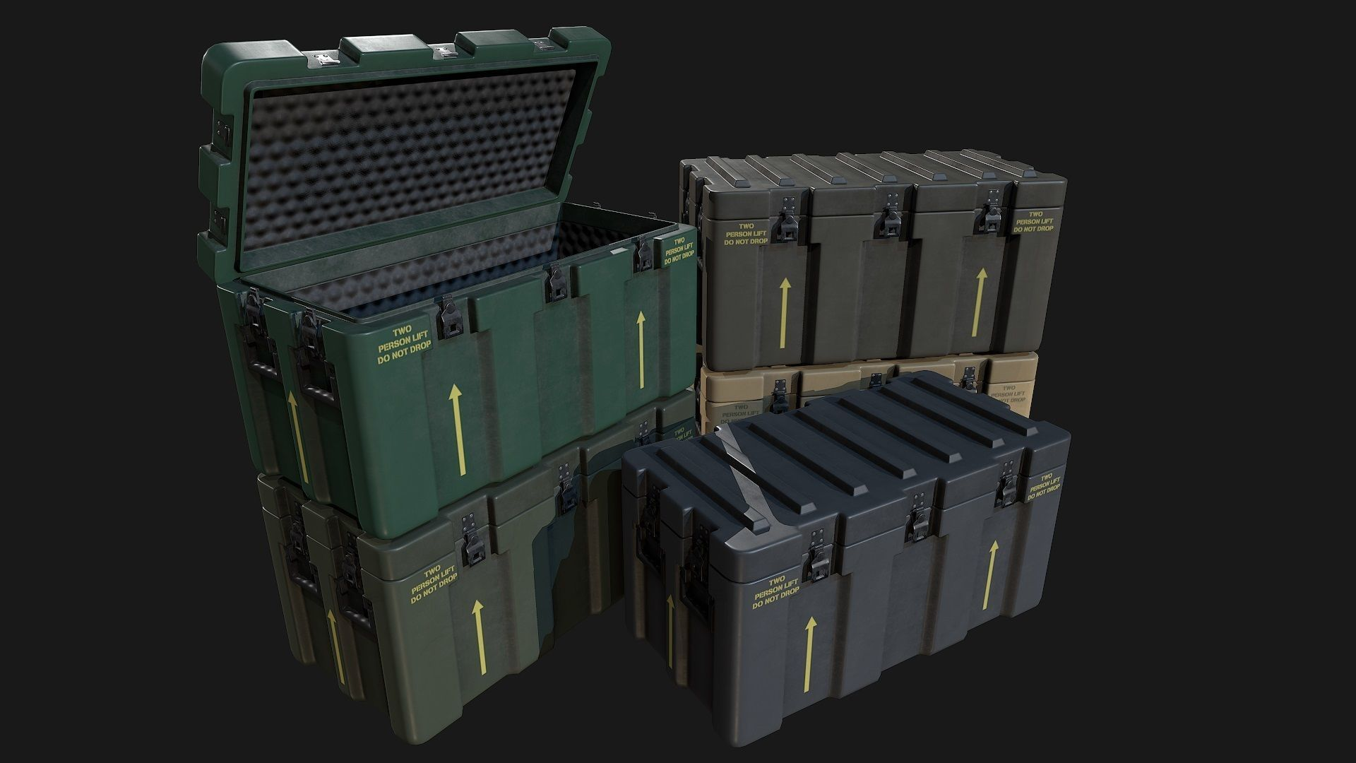 Low Poly PBR Military Crate 1