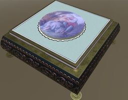 3D model low-poly Antique jewelry box