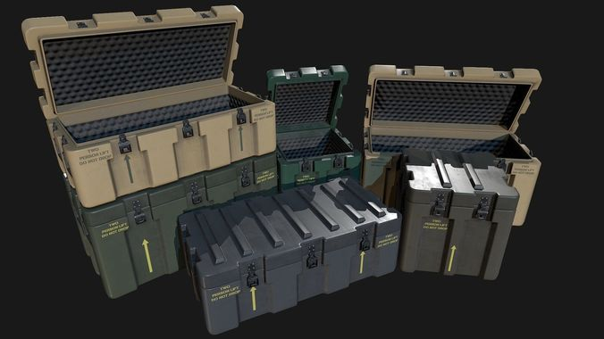 low poly pbr military crate collection 3d model low-poly max obj mtl fbx uasset 1