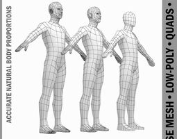 Male Low Poly Base Mesh in A-Pose 3D asset