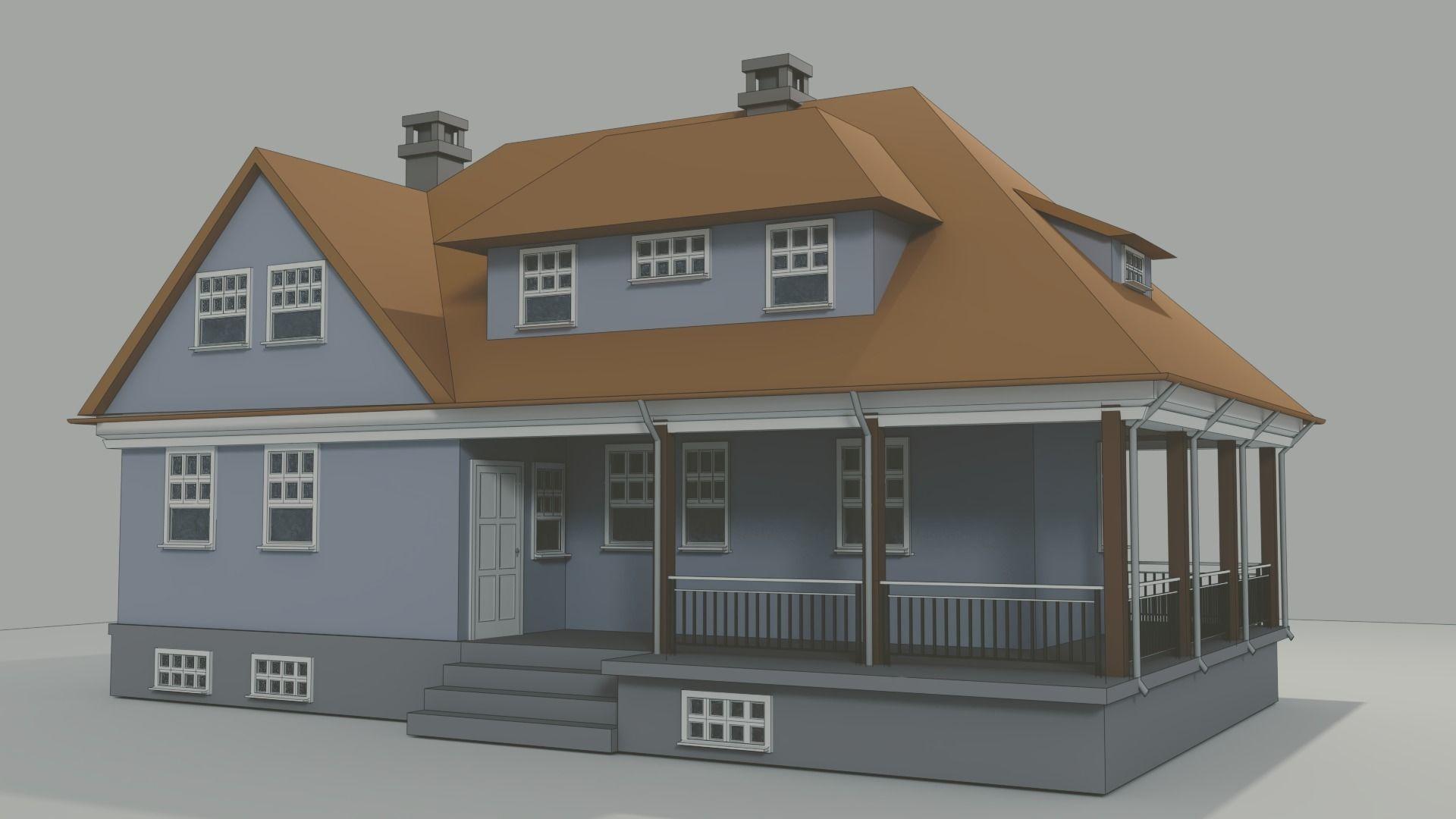 House Made In Blender 3d Model
