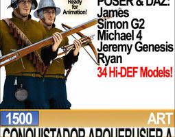 Conquistador Arquebusier Props Poser Daz A 1500 3D Model