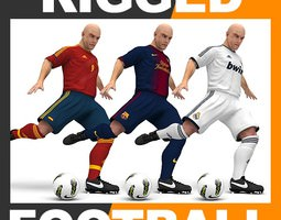 Rigged Football Player and Goalkeeper - Real Madrid Barcelona Spain 3D Model