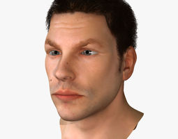 detailed 3D model White Male Face Rigged