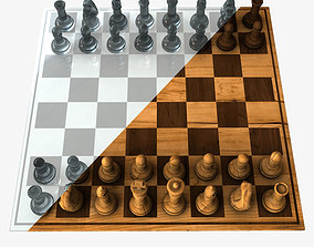 3D model Chess Set Wood and Glass Combo