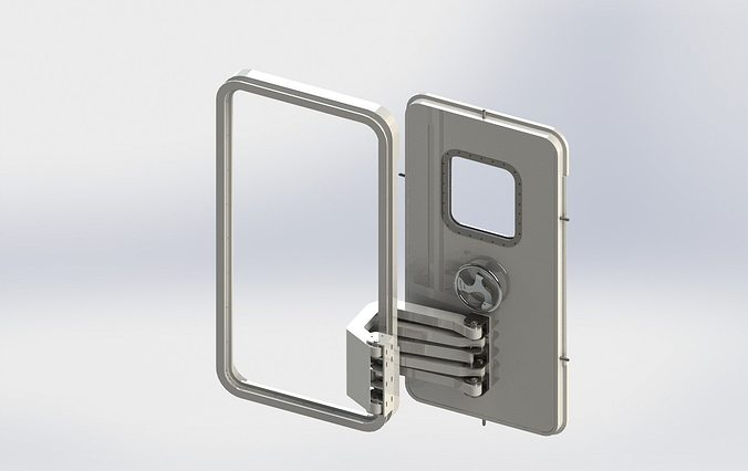 ... weathertight pantograph hinged door 3d model 4 & Weathertight Pantograph Hinged Door 3D model | CGTrader