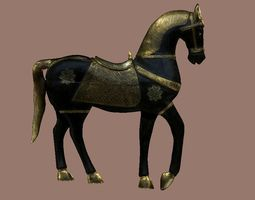 Noble horse in gold and black 3D model