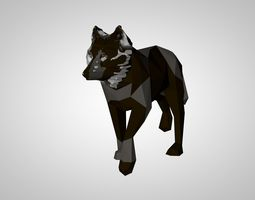 rigged low-poly low poly 3D model of a wolf