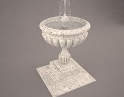 White-Black Marble Fountain With Water 3D