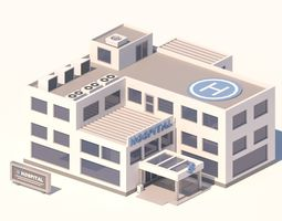 3D model Cartoon Low Poly Hospital Building