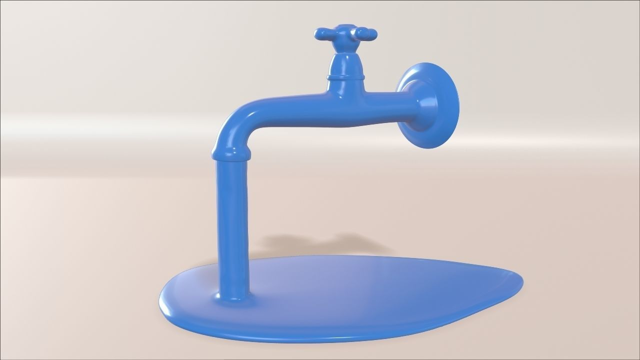 Water tap with running water 3D printable model   CGTrader