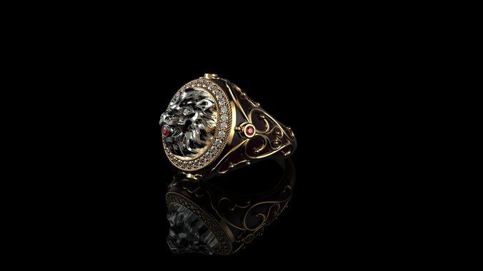mens lion ring diamond 3d model stl 3dm 1