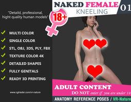 Naked Girl Kneeling pose 001 - Multi color 3D Printable