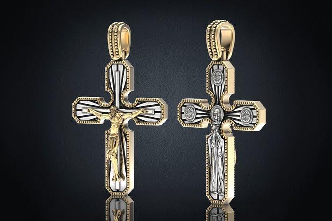 cross pendant with a crucifix 3d model stl 3dm 1