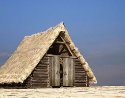 game-ready A 3D model of thatched cottage building
