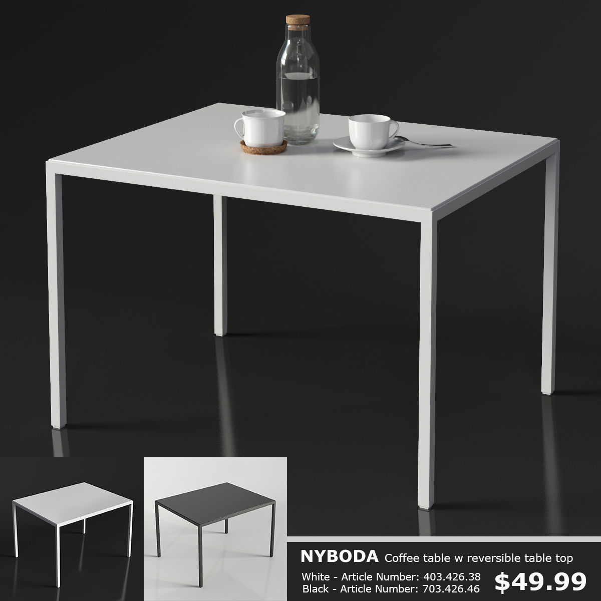 Ikea Nyboda Coffee Table 3d Model Max Obj 3ds Fbx Mtl Mat 1