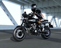 Yamaha xjr 1300 with rider 3D model