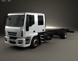 3D model Iveco EuroCargo Double Cab Chassis Truck 2008