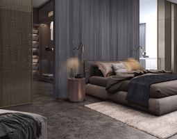 3D bedside modern bedroom