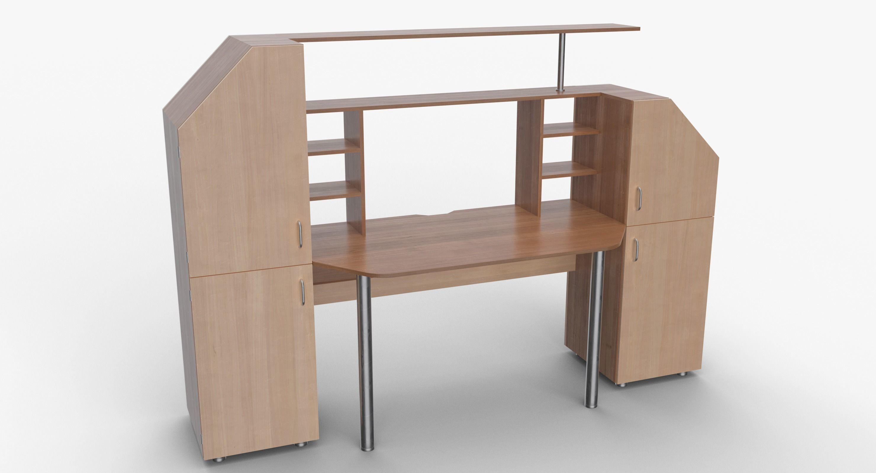 Computer Desk Wall 3d Model Obj 3ds Fbx Mtl 1