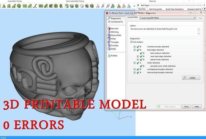 skull ring 3d model obj mtl stl amf 1