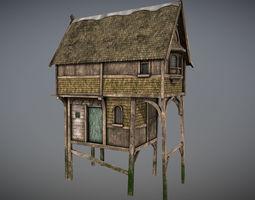 3D asset Medieval lake village - House 1