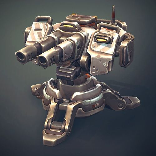 sci-fi turret constructor 3d model low-poly rigged animated fbx ma mb unitypackage prefab 1