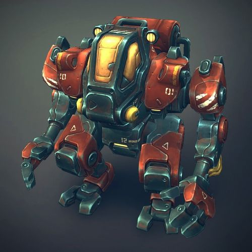 mech constructor - humanoids 3d model low-poly rigged animated fbx unitypackage prefab 1
