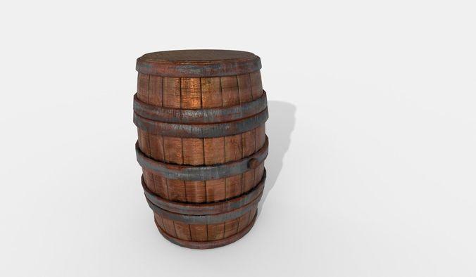 worn wooden barrel 3d model fbx blend 1