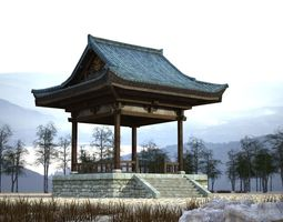 game-ready Ancient pavilion building 3D model