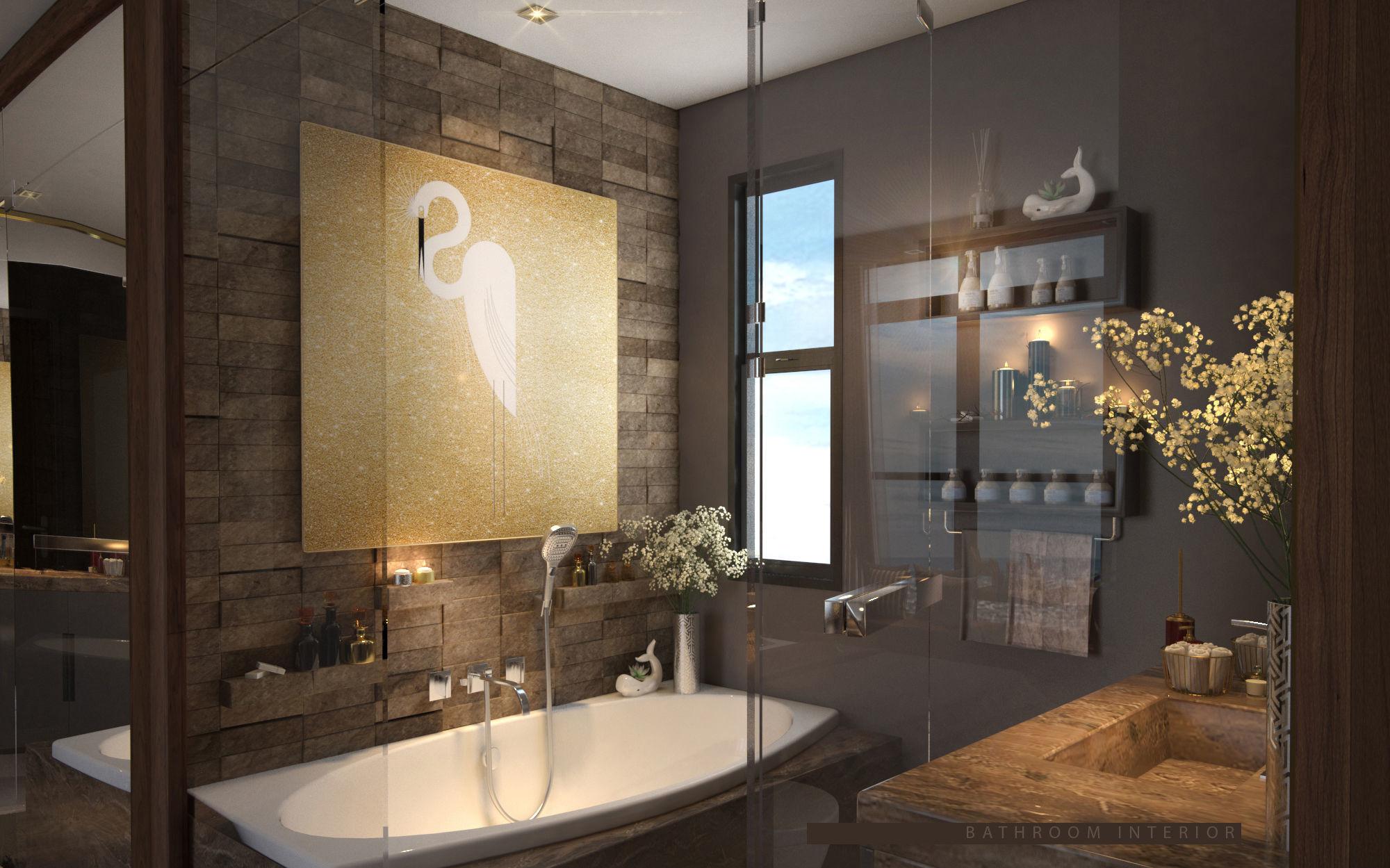 Bathroom Wc Modern Luxurious elegant cozy Granite Interior scene